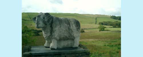 羊像のある公園